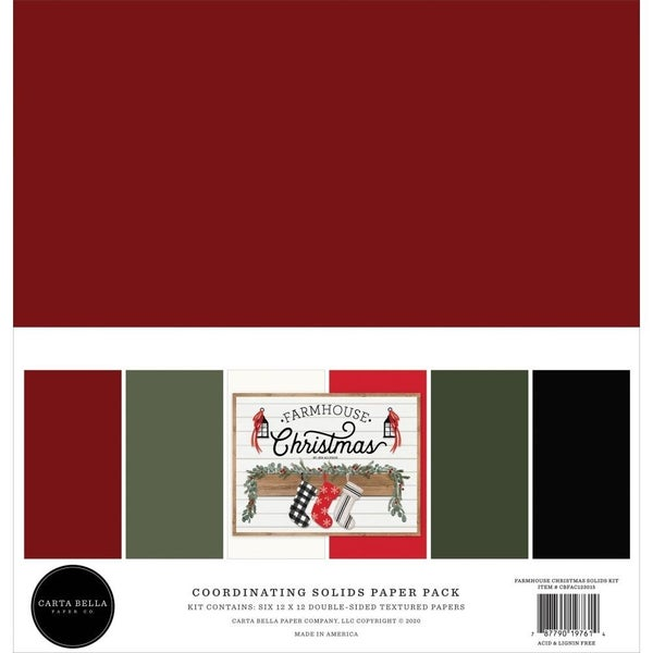 Farmhouse Christmas Coordinating Solid Cardstock Pack
