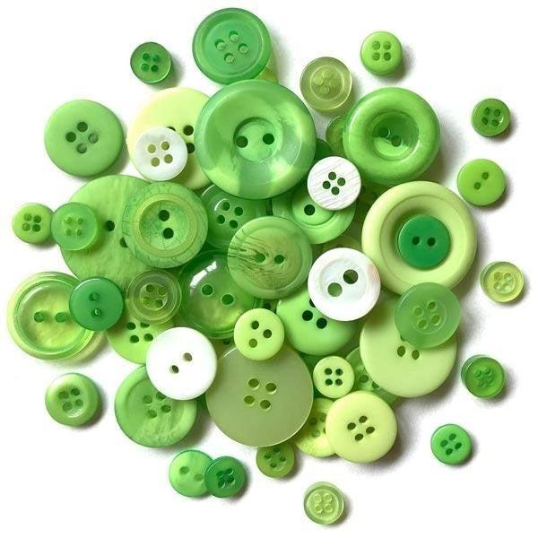 Buttons Mason Jar - Greenery