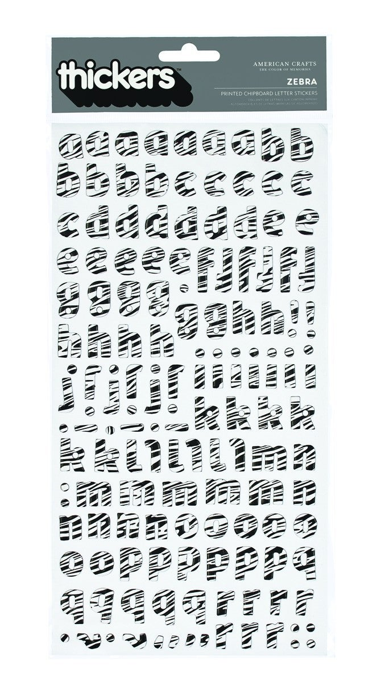 Delight Zebra Alphabet Chipboard Thickers