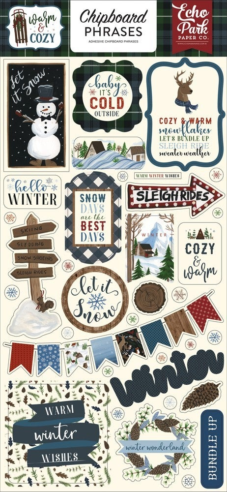 Warm & Cozy Chipboard Phrases Thickers