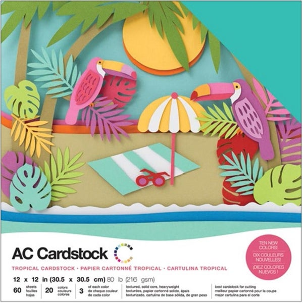 American Crafts Tropical Cardstock Pack Qty 60