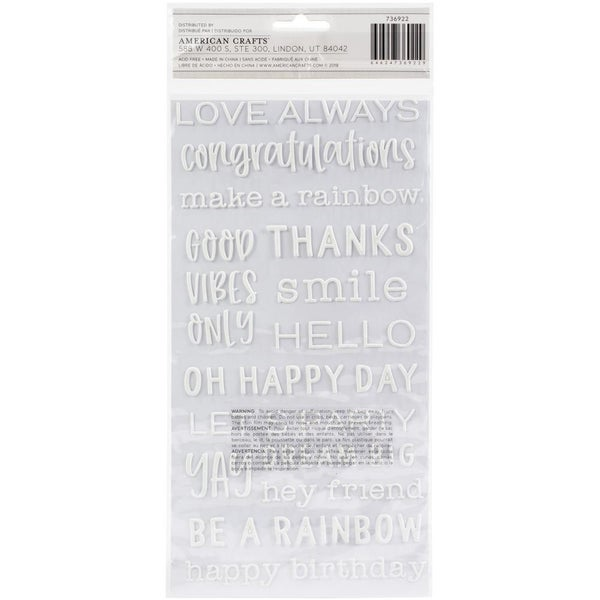 Rainbow Live Life Happy Phrase White Thickers