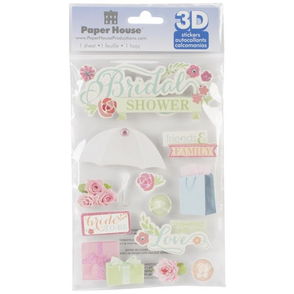 3D Bridal Shower Stickers