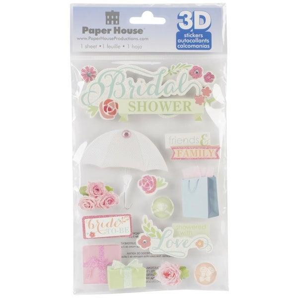 3D Bridal Shower Stickers