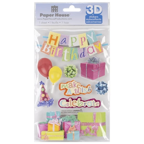 3D Happy Birthday Stickers