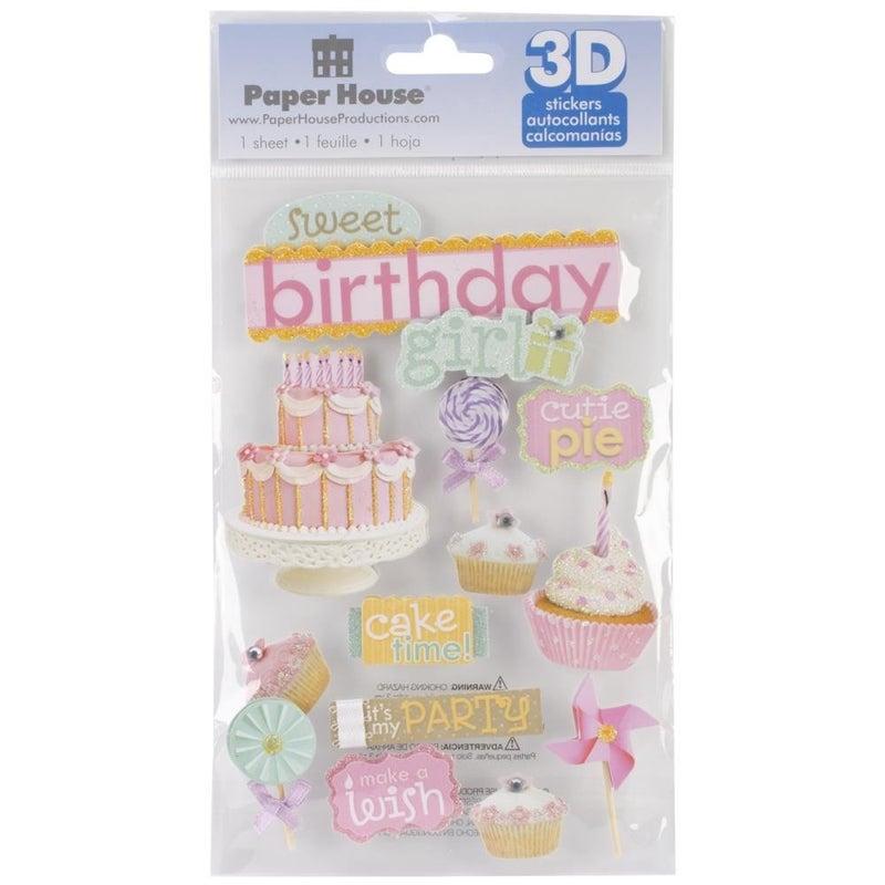 Birthday Girl 3D Stickers