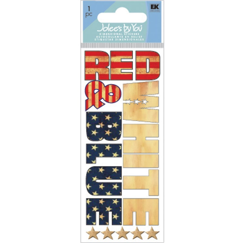 Red White & Blue Title Stickers