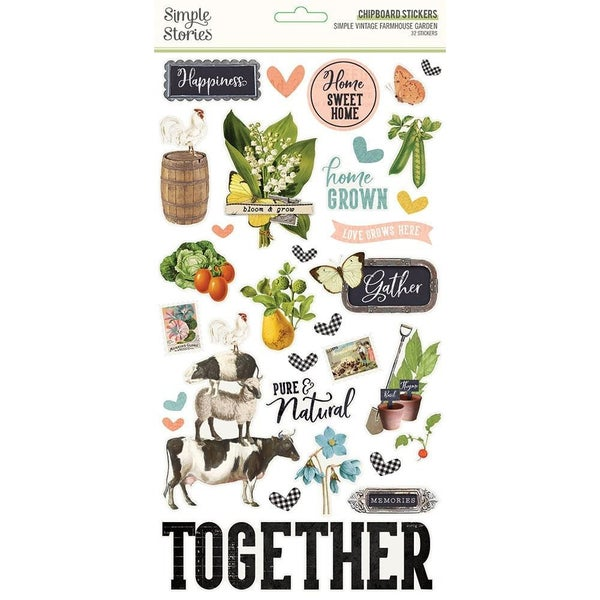 Farmhouse Garden Chipboard Stickers