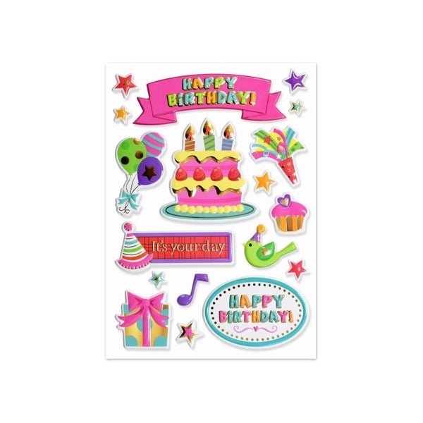 Happy Birthday Foil 3D Sticker