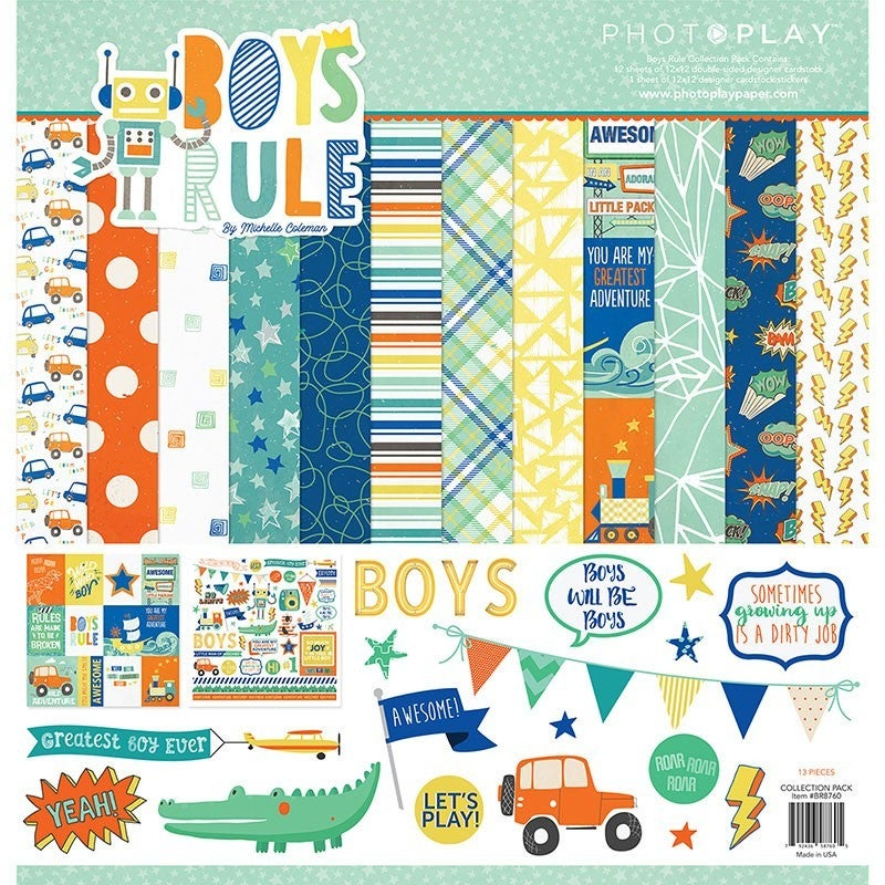 Photo Play Boys Rule Paper Pack