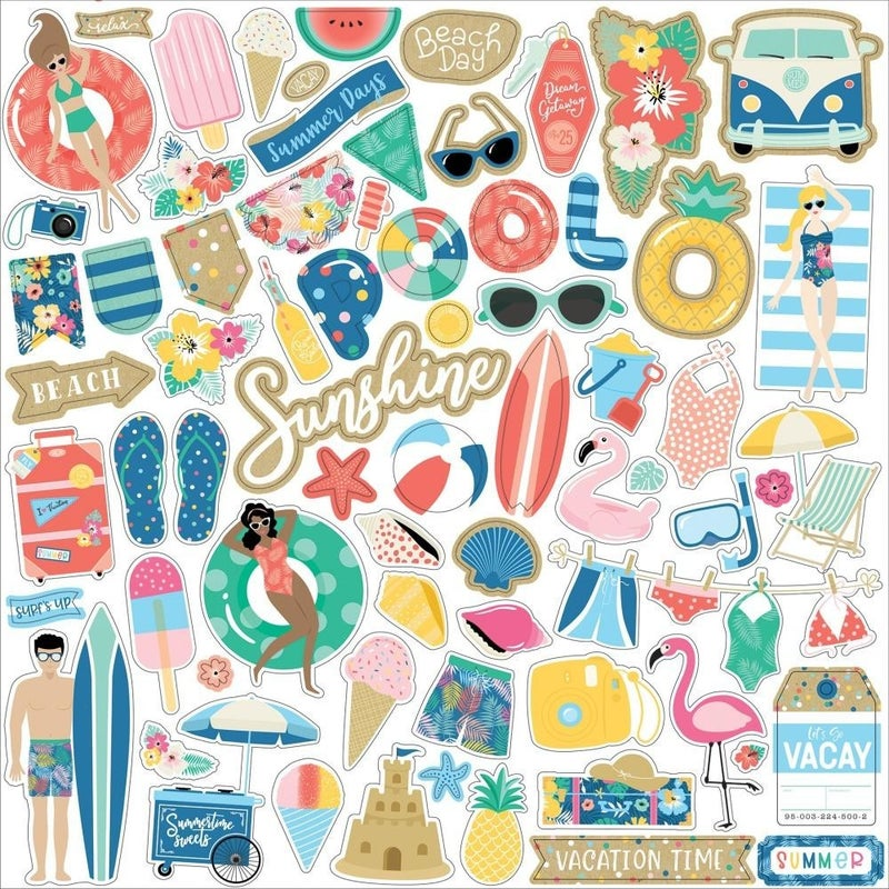 Dive into Summer 12x12 Stickers