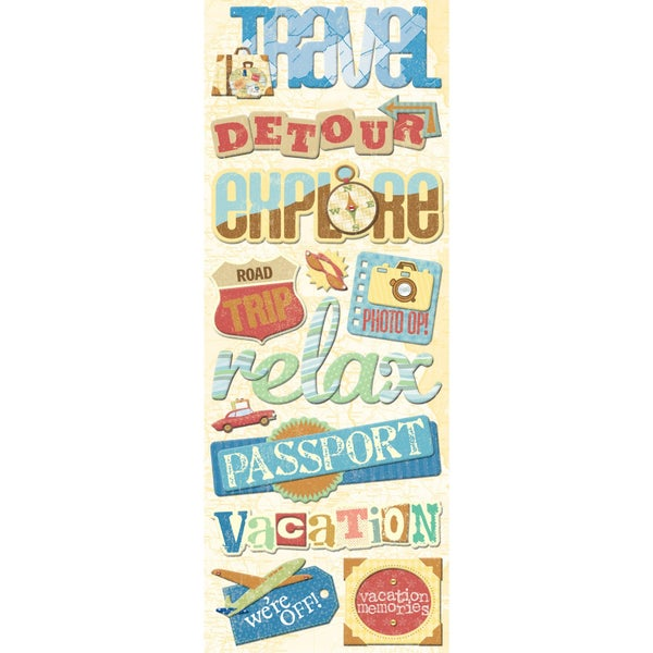 Travel Chipboard Stickers
