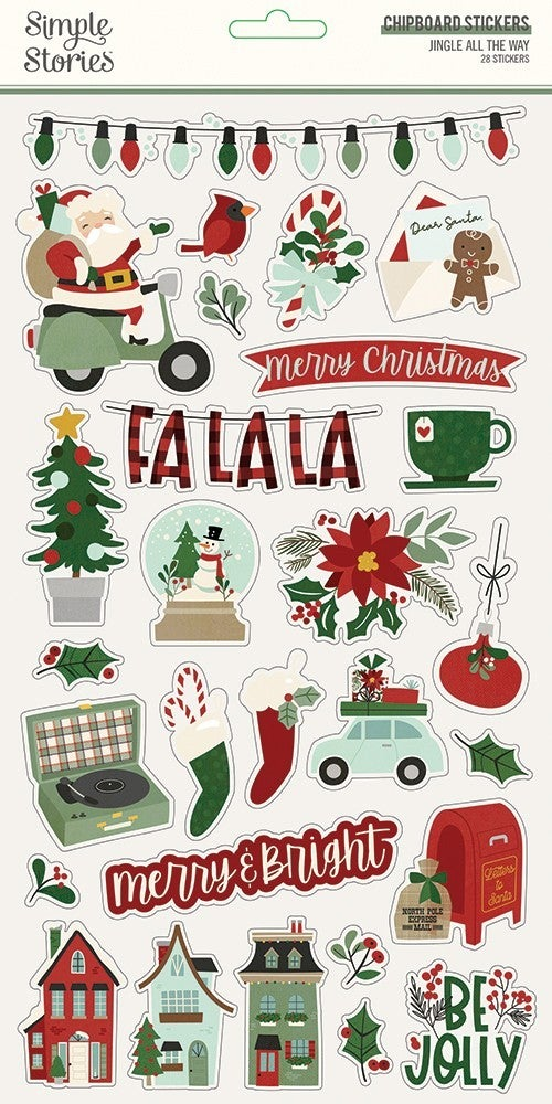 Jingle All the Way Chipboard Stickers