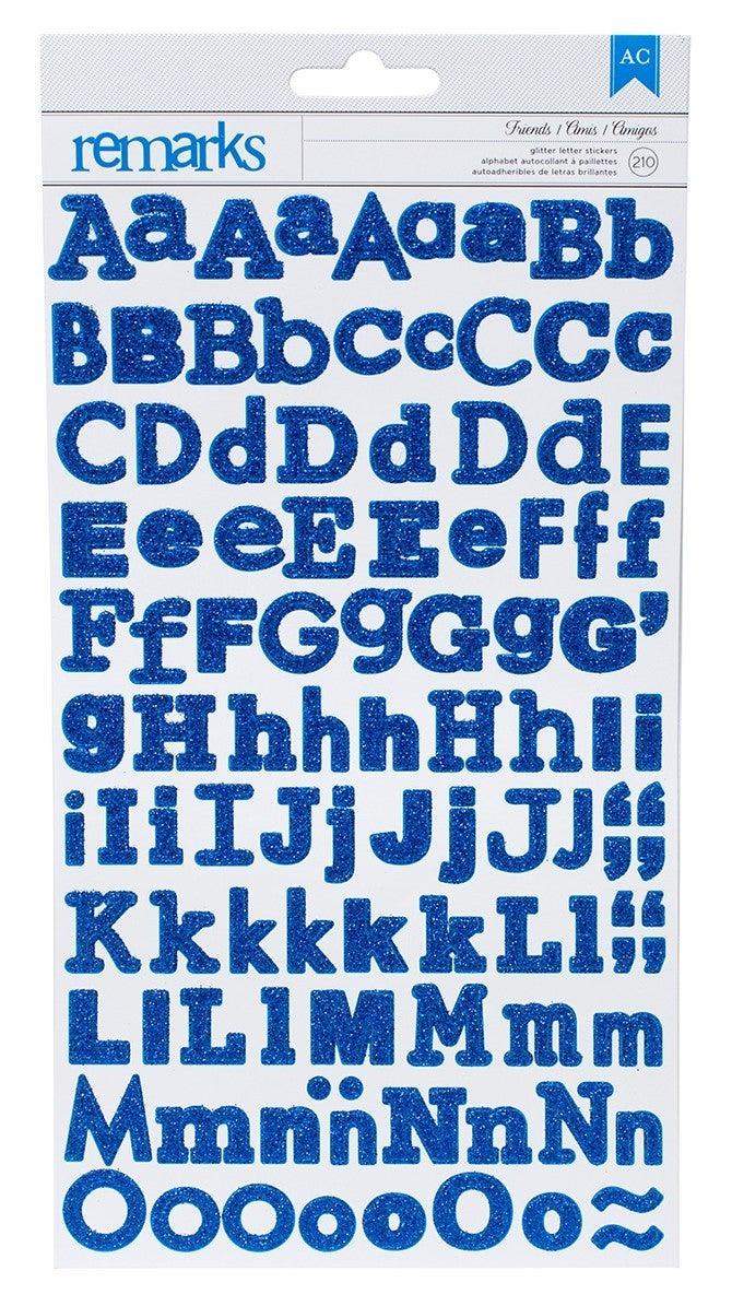 Friends Glitter Alphabet Stickers - Blue