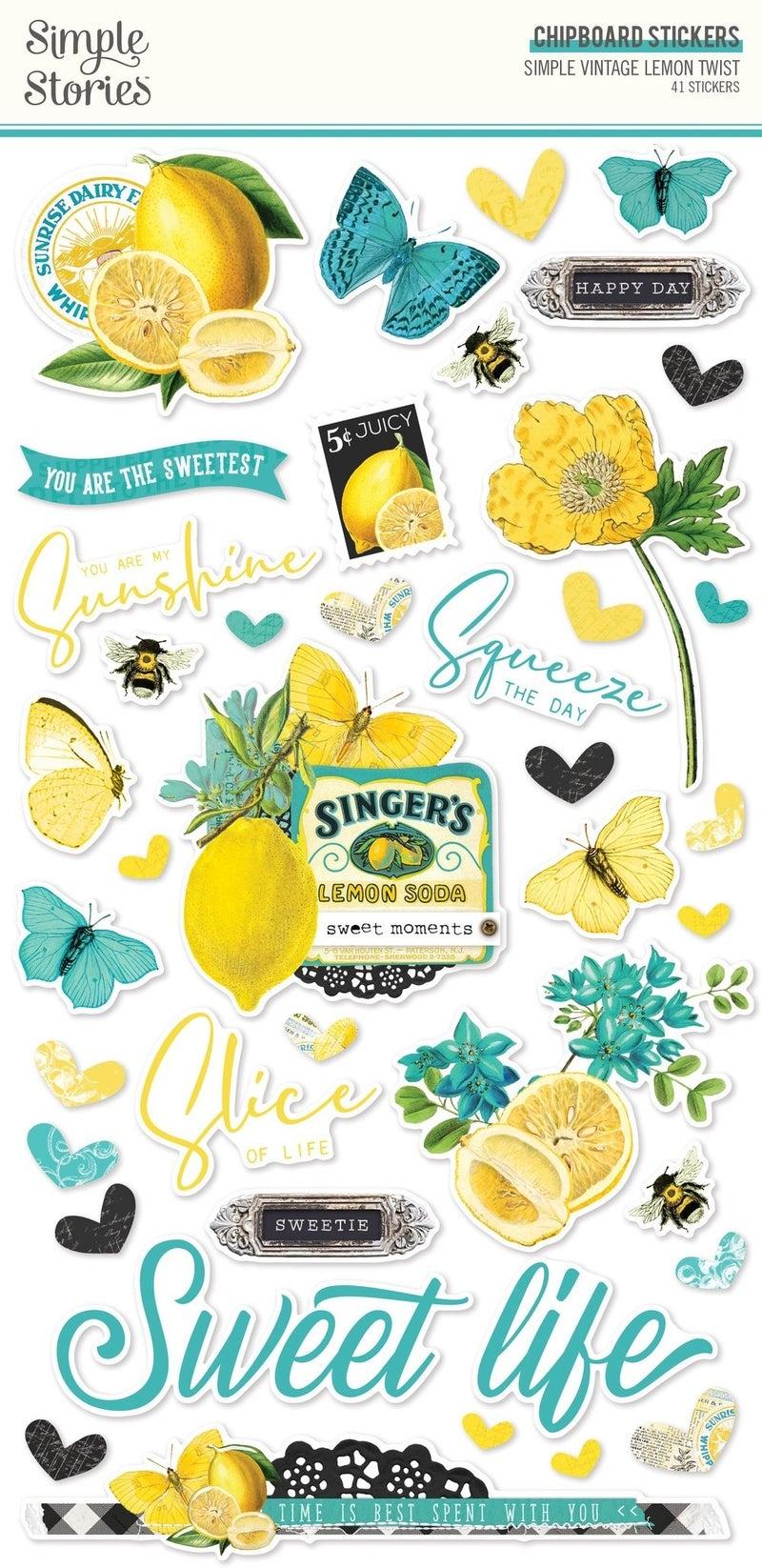 Simple Vintage Lemon Twist Chipboard Stickers