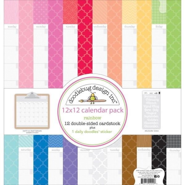 Daily Doodle Rainbow Calendar Paper Pack