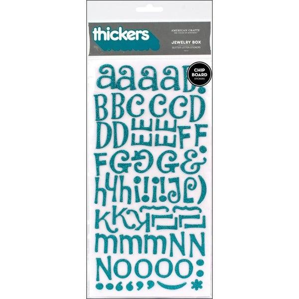 Jewelry Box Alphabet Thickers - Aqua