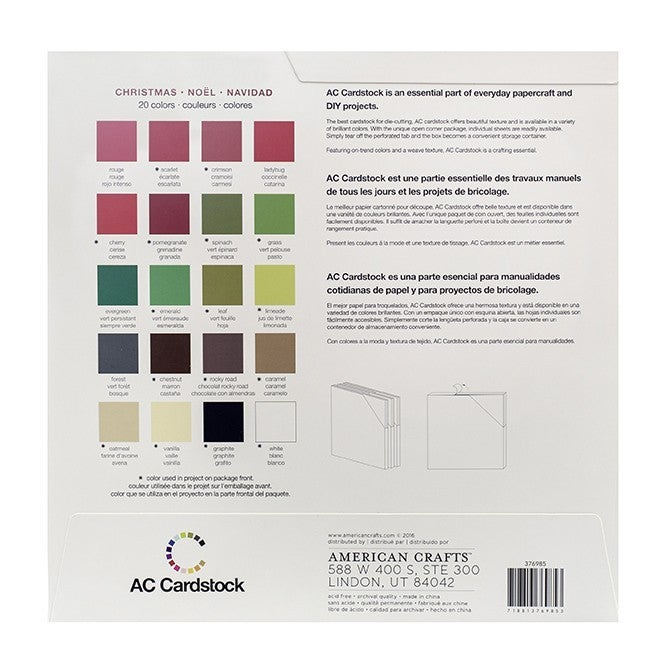 American Crafts Christmas Cardsock Pack Qty 60