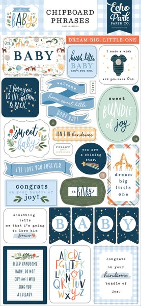 Welcome Baby Boy Chipboard Phrases