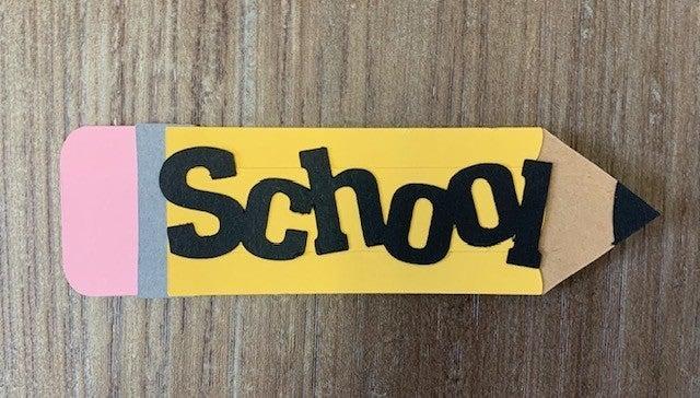 School Pencil Die Cut Size 4 1/2 x 1 1/4