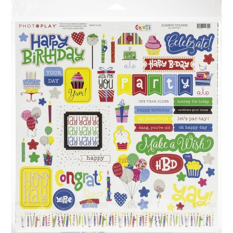 Confetti Collection 12x12 Paper Pack Birthday