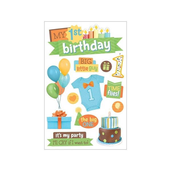 Boy Birthday 3D Stickers