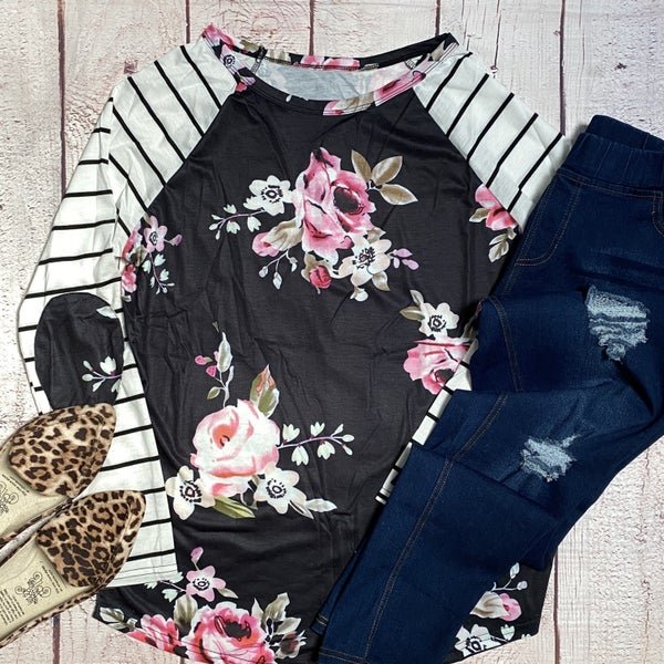Floral Stripe Patch Tee