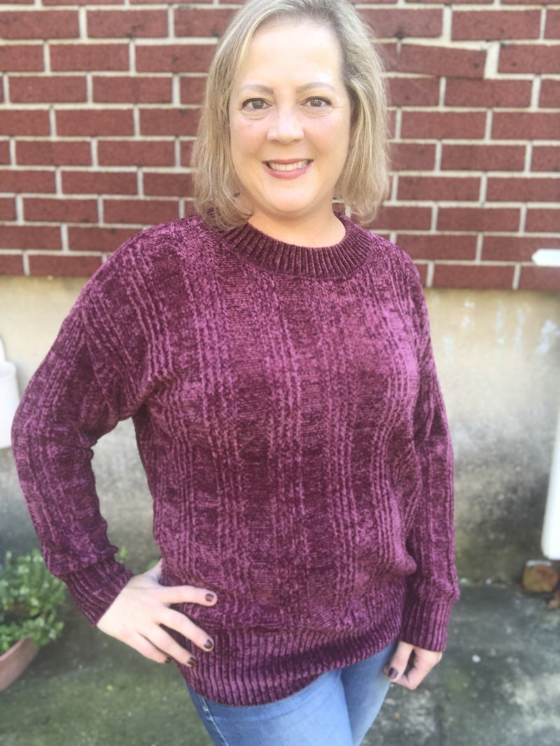 Chenille  Cable Knit Sweater Dark Burgundy