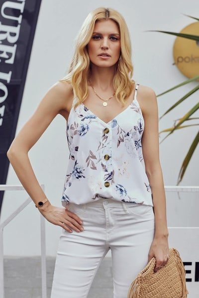 White Floral Button Up Tank *Final Sale*
