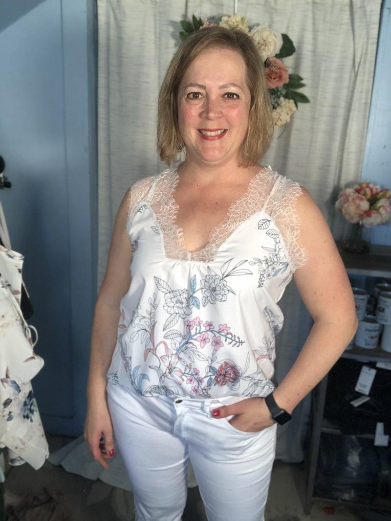White Freesia Lace Tank