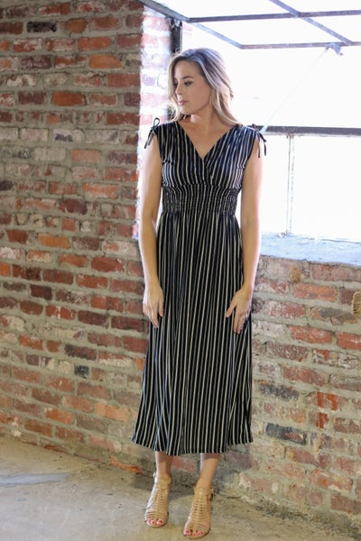 Smocked Waist Dress - Black and Ivory Stripe
