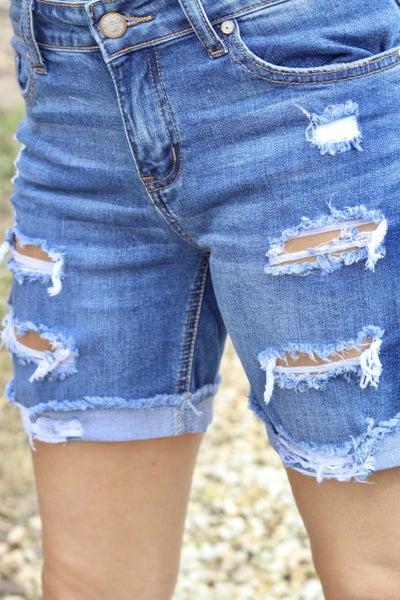 Tidal Pool Distressed Shorts