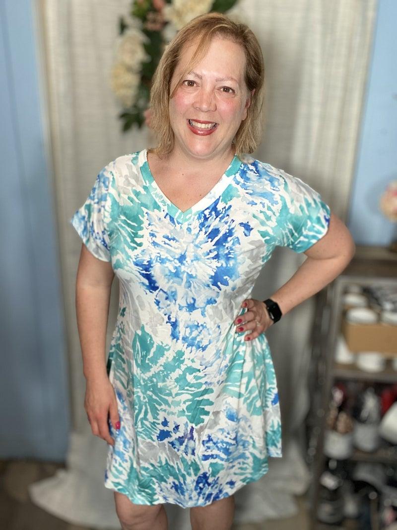 Remain the Same Blue Tie Dye Dress