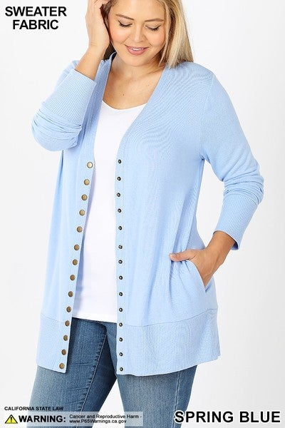 Snap Button Cardigan Plus