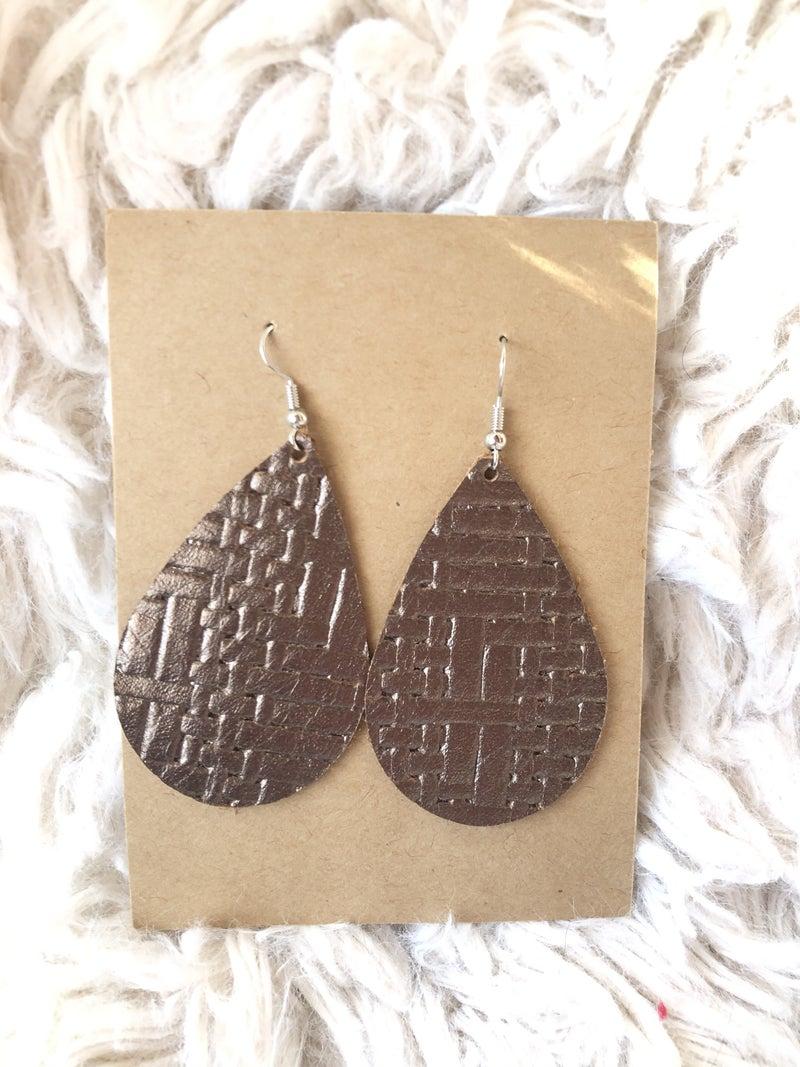 Bronze basket weave Leather Earrings