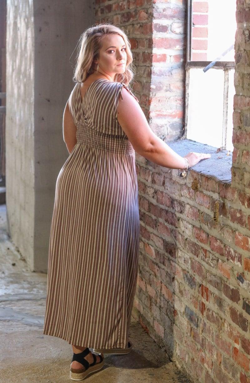 Smocked Waist Dress - Taupe and Ivory Stripe