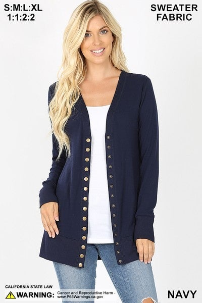 Snap Button Sweater Cardigan with Side Pockets - Navy