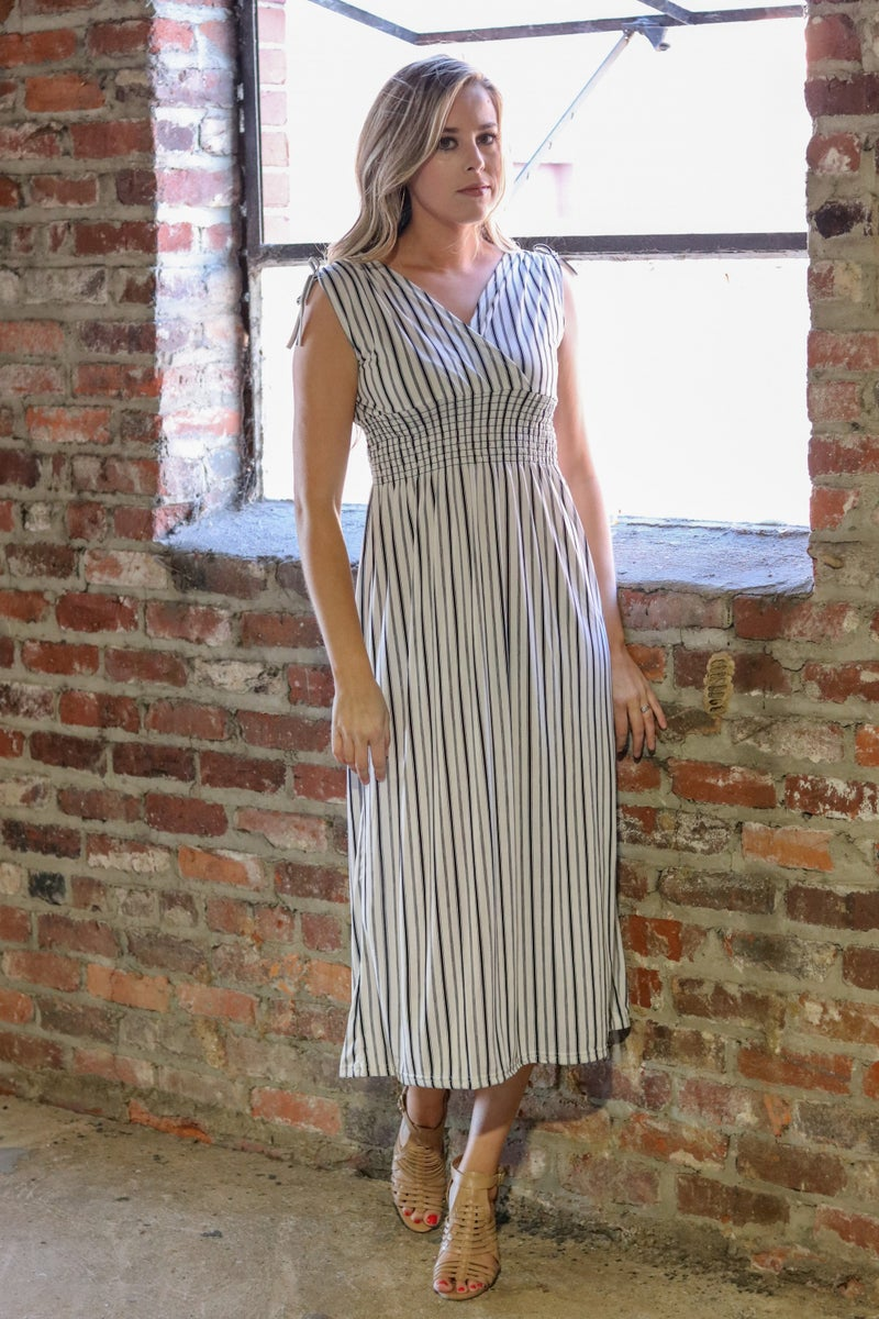 Smocked Waist Dress - Ivory and black Stripe