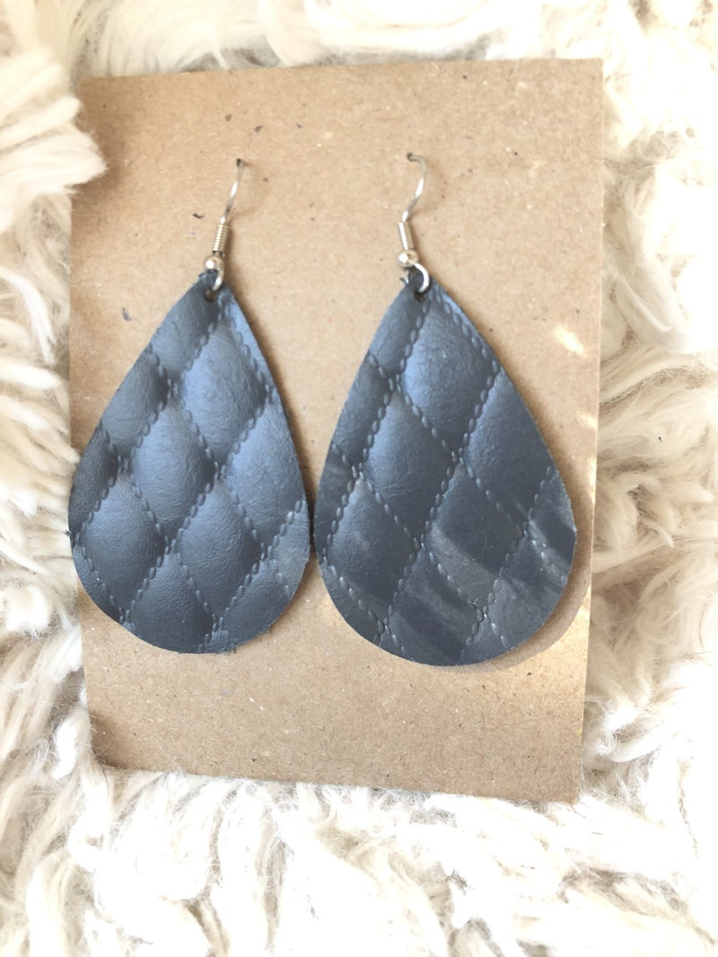 Quilted Black Leather Earrings
