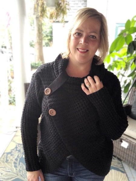Wrap Asymmetrical Hem Sweater Black