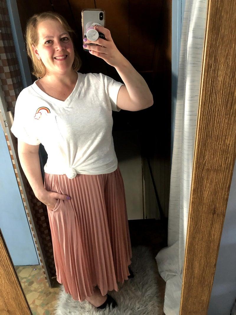 Pleated Wide Leg Drape Pants