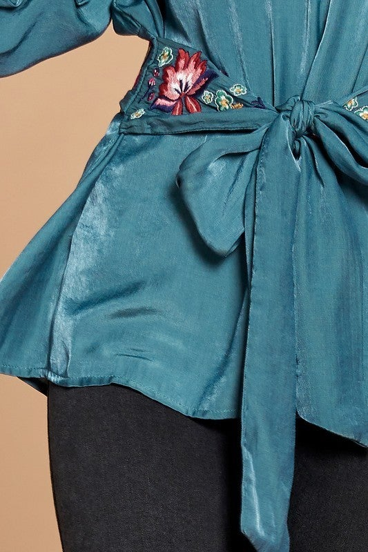 Floral Embroidered Waist Tie Belt Top