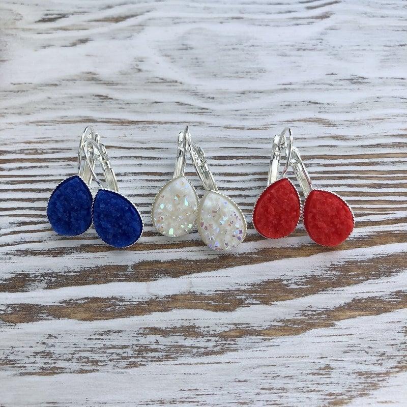 4th of July Druzy Teardrop Earrings