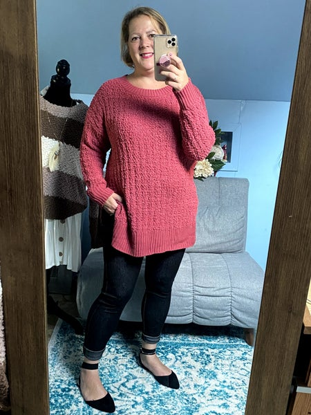 Getting Cozy Popcorn Sweater Hilo Hem Rose