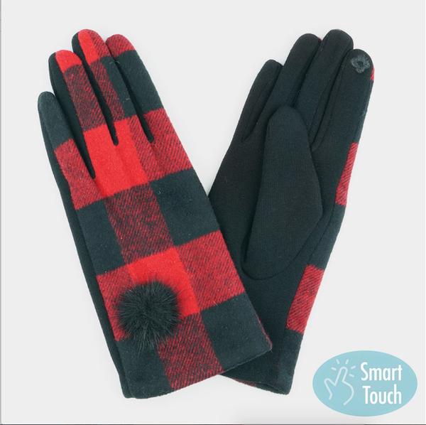 Plaid Pom Pom Gloves