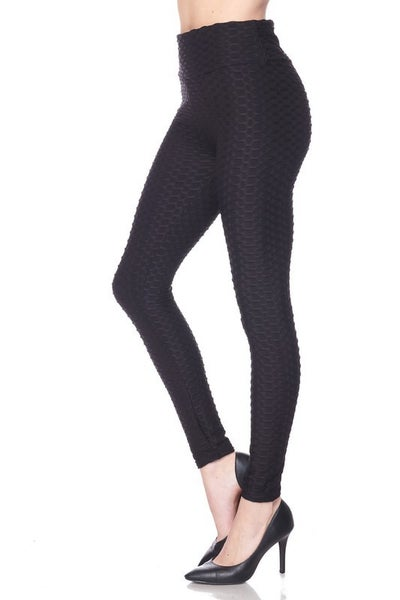 Brazilian Butt Lifting Textured Leggings with Elastic Waist band Black