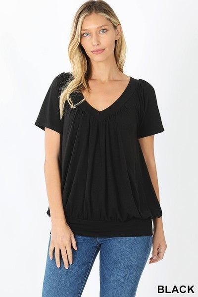 Shirred Short Sleeve Top Black