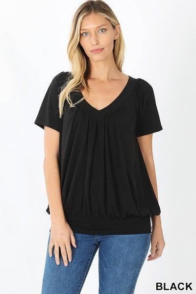 Shirred Short Sleeve Top Black
