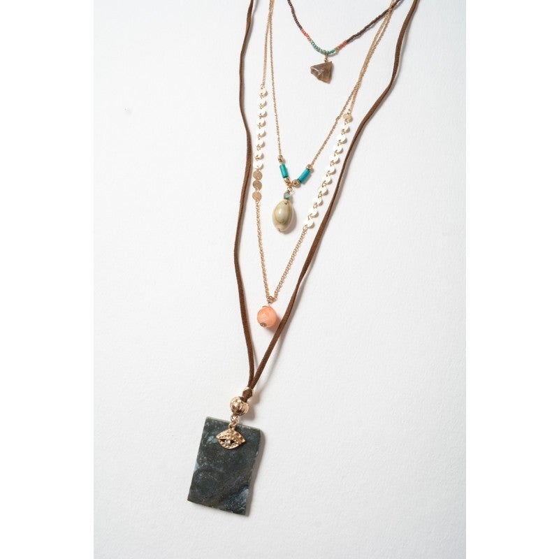 Bohemian Sea and Earth Tiered Necklace.