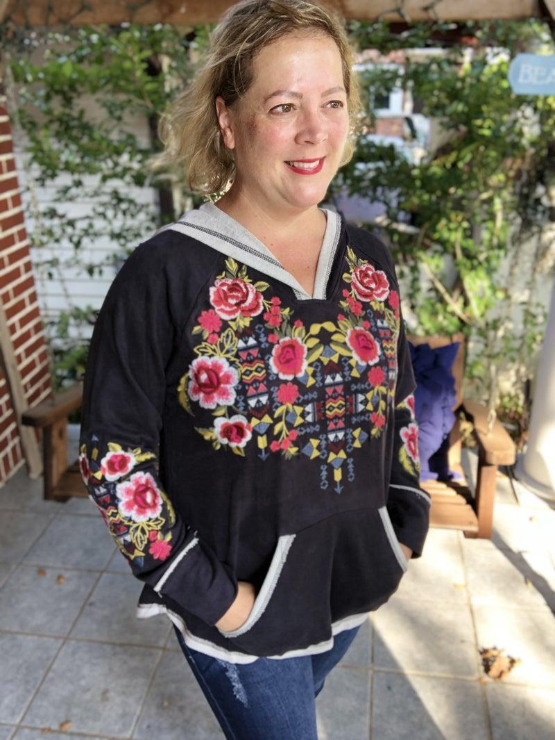 Embroidery Long Sleeve Hoodie